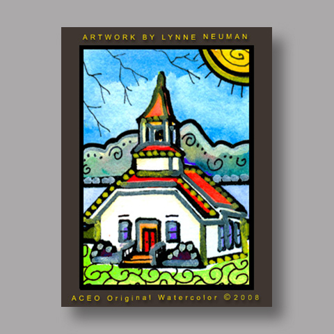 Signed ACEO *Church #2611* by Lynne Neuman