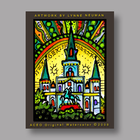 Signed ACEO *Church New Orleans #2612* by Lynne Neuman