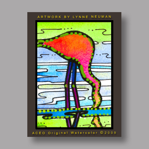 Signed ACEO *Pink Flamingo Exotic Bird Miami Florida #2950* by Lynne Neuman