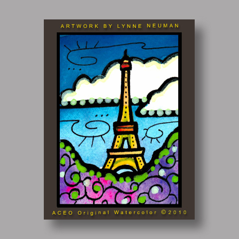 Signed ACEO *Paris France Eiffel Tower Illustration #3032* by Lynne Neuman