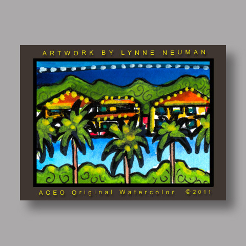 Signed ACEO *Miami Florida Homes Near Cruise Port #3148* by Lynne Neuman