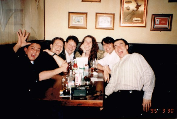 Blair and I (upper left) at an after work bitch session somewhere in Wanchai 1995.