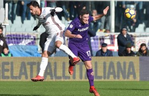 FLORENCE, ITALY - DECEMBER 30: Jordan Veretout (17) of ACF Fiorentina in action against Suso (8) of A.C Milan during Italy Serie A soccer match between ACF Fiorentina and A.C Milan at Stadio Artemio Franchi in Florence, Italy on December 30, 2017. Carlo Bressan / Anadolu Agency