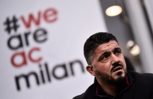 AC Milan's coach Gennaro Gattuso looks on during the Italian Serie A football match AC Milan Vs Crotone on January 6, 2018 at the San Siro stadium in Milan.  / AFP PHOTO / MARCO BERTORELLO