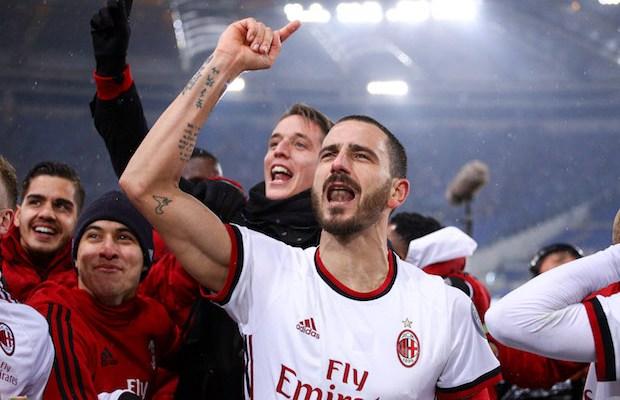 Leonardo Bonucci of Milan celebrates the victory at the end of the Italian Cup semi final match between Lazio and AC Milan at Stadio Olimpico, Rome, Italy on 28 February 2018. (Photo by Giuseppe Maffia/NurPhoto)