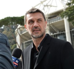 AC Milan's former player Paolo Maldini during the ceremony Walk of Fame in Rome, Italy, on 12 March 2018. The Walk of Fame is enriched with 5 more samples. Along the Via Olimpiadi, which leads straight to the Olympic stadium in Rome, new plates have been added dedicated to five blue champions no longer in business: the historic Milan captain and national defender, soccer player Paolo Maldini, the swimmer Massimiliano Rosolino, the middle distance runner Luigi Beccali, the cyclist Ercole Baldini and the volleyball player Samuele Papi. (Photo by Silvia Lore/NurPhoto)