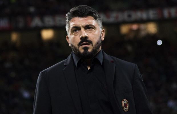 AC Milan's coach Gennaro Gattuso from Italy looks on during the Italian Serie A football match AC Milan vs Sampdoria at the Giuseppe Meazza Stadium in Milan, on October 28, 2018. (Photo by MARCO BERTORELLO / AFP)