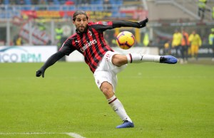 Ricardo Rodriguez #68 of AC Milan in action during the serie A match between AC Milan and Parma Calcio 1913 at Stadio Giuseppe Meazza on December 02, 2018 in Milan, Italy. (Photo by Giuseppe Cottini/NurPhoto)