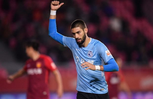Belgian professional football player Yannick Ferreira Carrasco of Dalian Yifang reacts while competing against Hebei China Fortune in their 27th round match during the 2018 Chinese Football Association Super League (CSL) in Langfang city, north China's Hebei province, 27 October 2018.