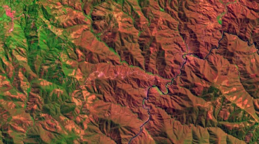 Combinación Landsat 8 Natural con remoción atmosférica RGB:753
