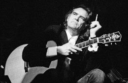 AMSTERDAM, NETHERLANDS - JANUARY 9: Guy Clark, guitar-vocal, performs at the Paradiso on 9th January 1992 in Amsterdam, Netherlands. (Photo by Frans Schellekens/Redferns)