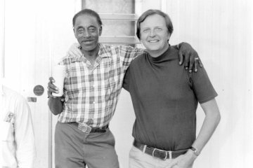 Mississippi Fred McDowell, left, with Chris Strachwitz of Arhoolie Records, circa 1970.