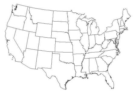 a blank usa map with states