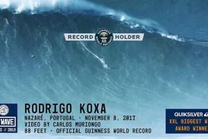 Rodrigo Koxa World Record at Nazaré – 2018 Quiksilver XXL Biggest Wave Award Winner