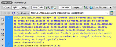 CSS Live Code en Dreamweaver usando Modernizr