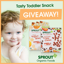 sprout, organic, baby food, natural, toddler snacks, vegetables, fruit, toddler snacks giveaway, toddler food, meals, snacks, yogurt bites, on the go, all natural