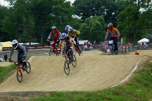 riders compete in a race at south park bmx near pittsburgh pennsylvania