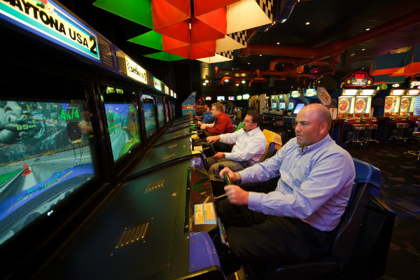 adults and families enjoy food and games at dave and busters in pittsburgh pennsylvania