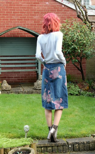 reverse of vintage denim skirt