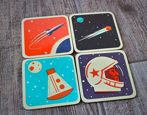 red candy space coasters