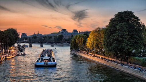 Seine River Colorful Boats Sunset Sky Paris