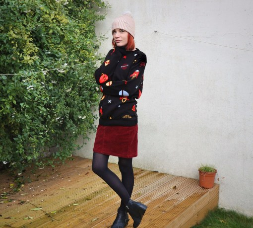 space jumper and cord skirt