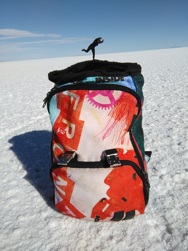 Bag 24 and Marina in Bolivia Salt Flats