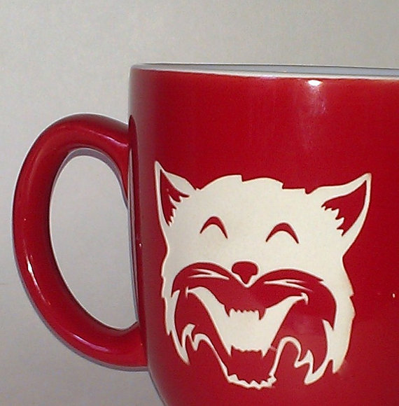 Geeks love LOLcatz and coffee. Combine them both with this etched mug