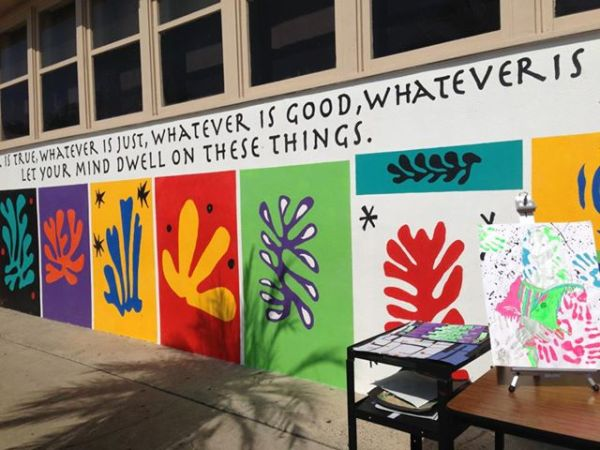 The courtyard a Megan's school has this mural, a paraphrase of Philippians 4:8 which also exhibits the values of the school's charter.