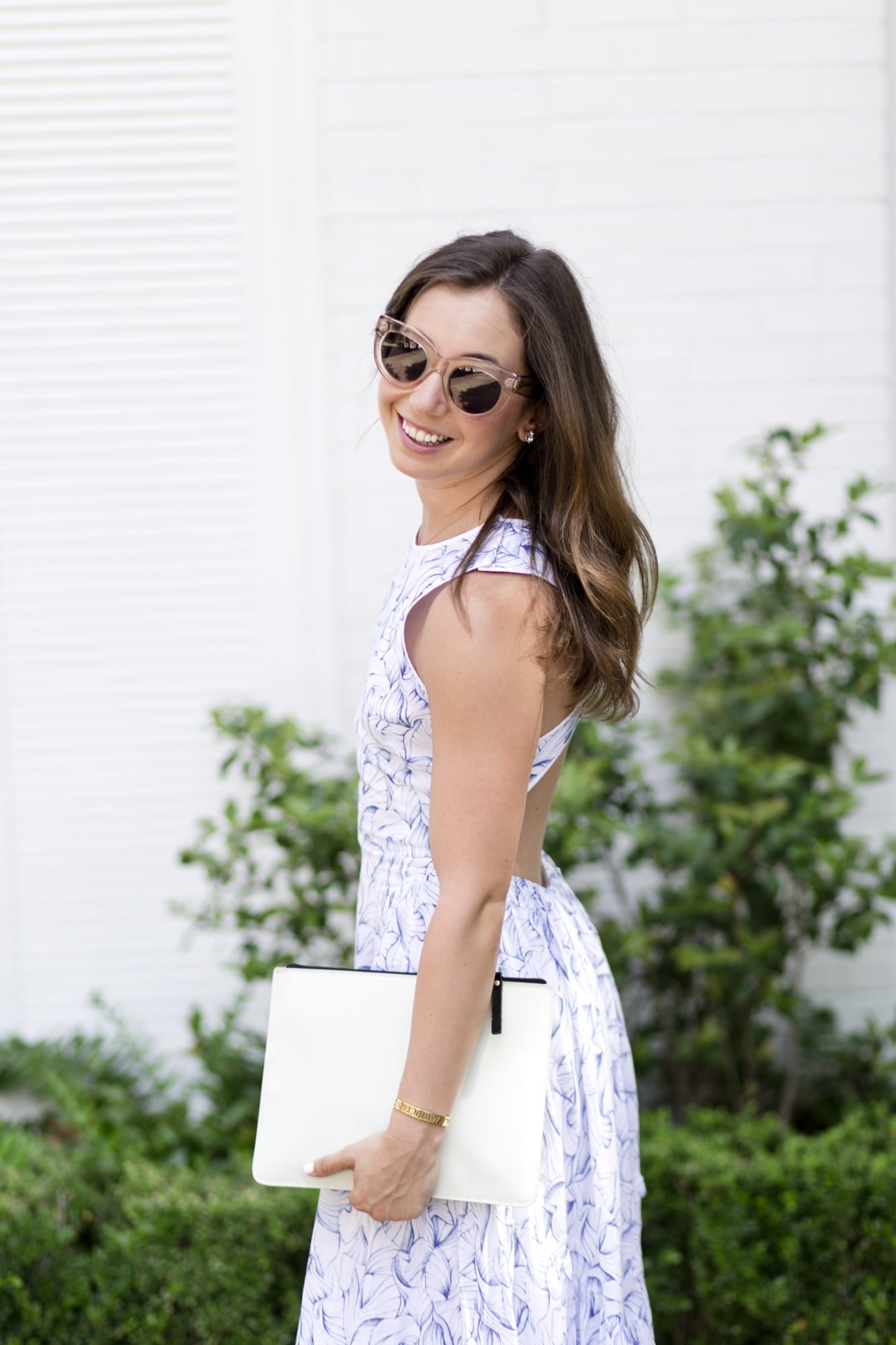 Spring Wedding Guest Dress with White Clutch