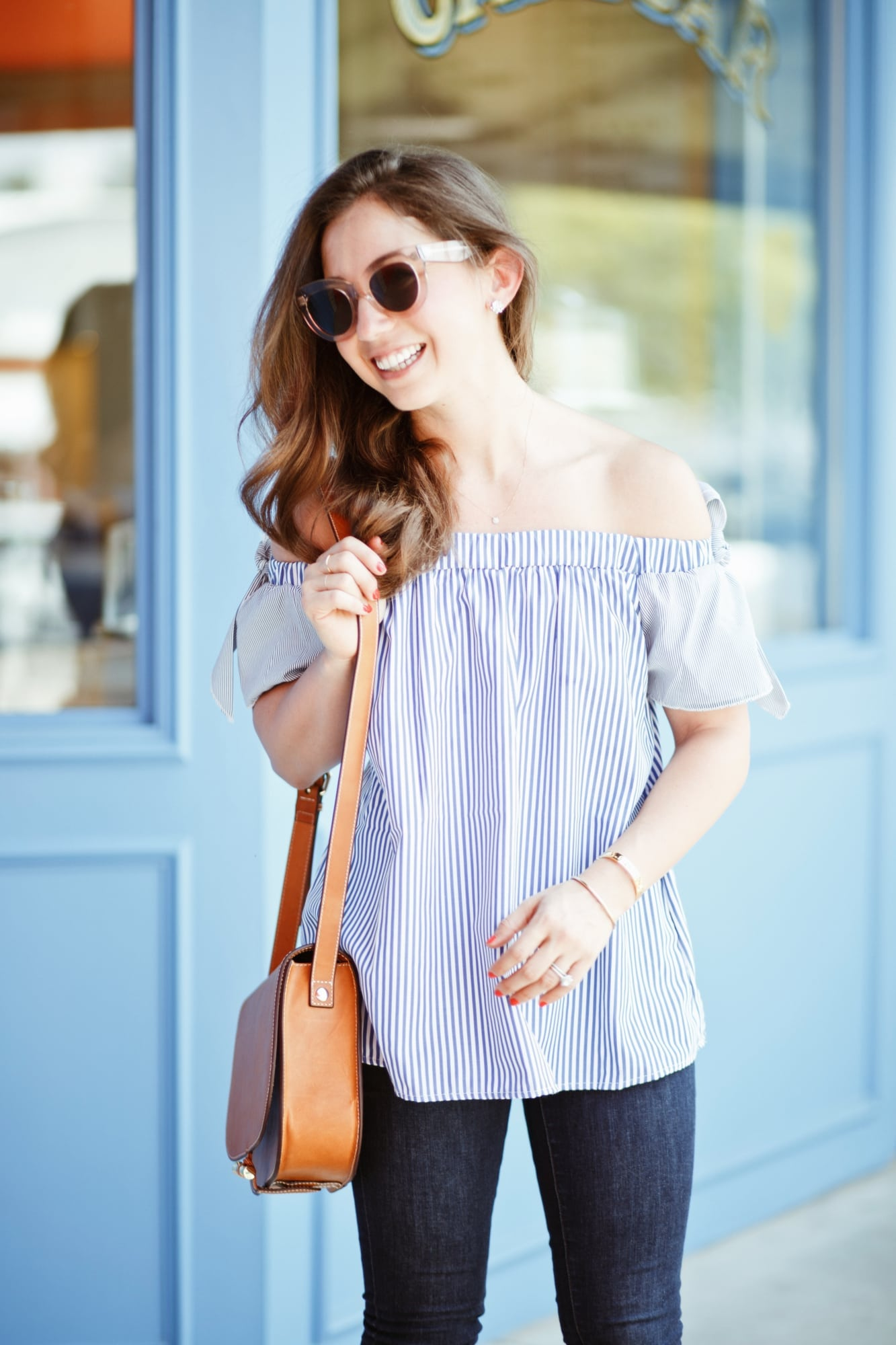 Goodnight Macaroon Stripe Off the Shoulder Top