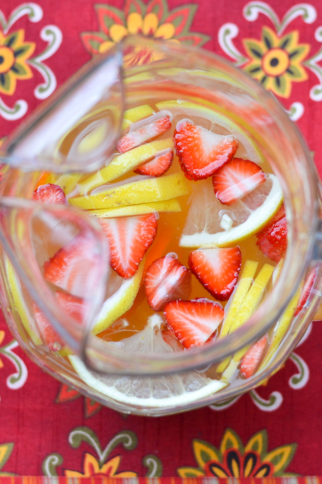 Luscious White Sangria | Turn an ordinary bottle of white wine into a luscious, fruity crowd pleaser with this simple recipe! | adashofsoul.com