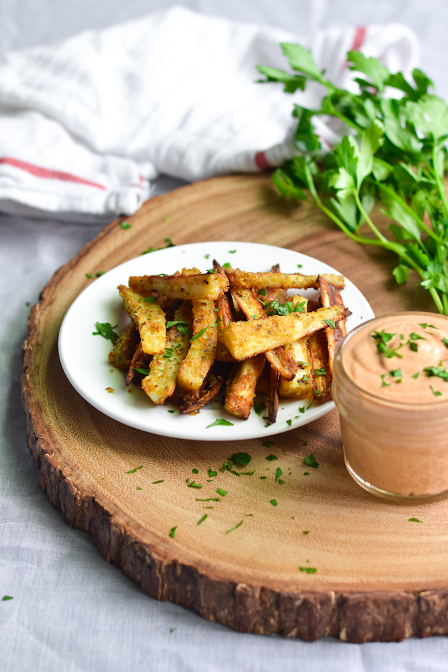 Cheezy Parsnip Fries with Smoky Tahini Sauce