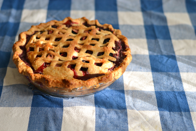 Delicious bumbleberry pie + a pastry chef's trick to getting a lattice crust look in seconds!