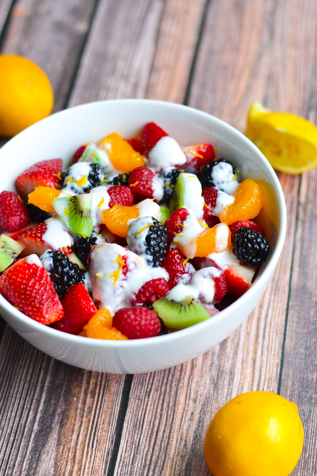 A rainbow of fruits drizzled with a sweet and creamy limoncello dressing!