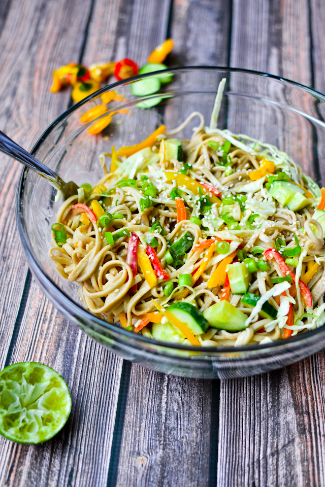 A healthy and delicious cold noodle salad with vegetables and a savory peanut dressing!