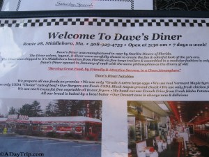 Dave's Diner history and motto as appears on their menu