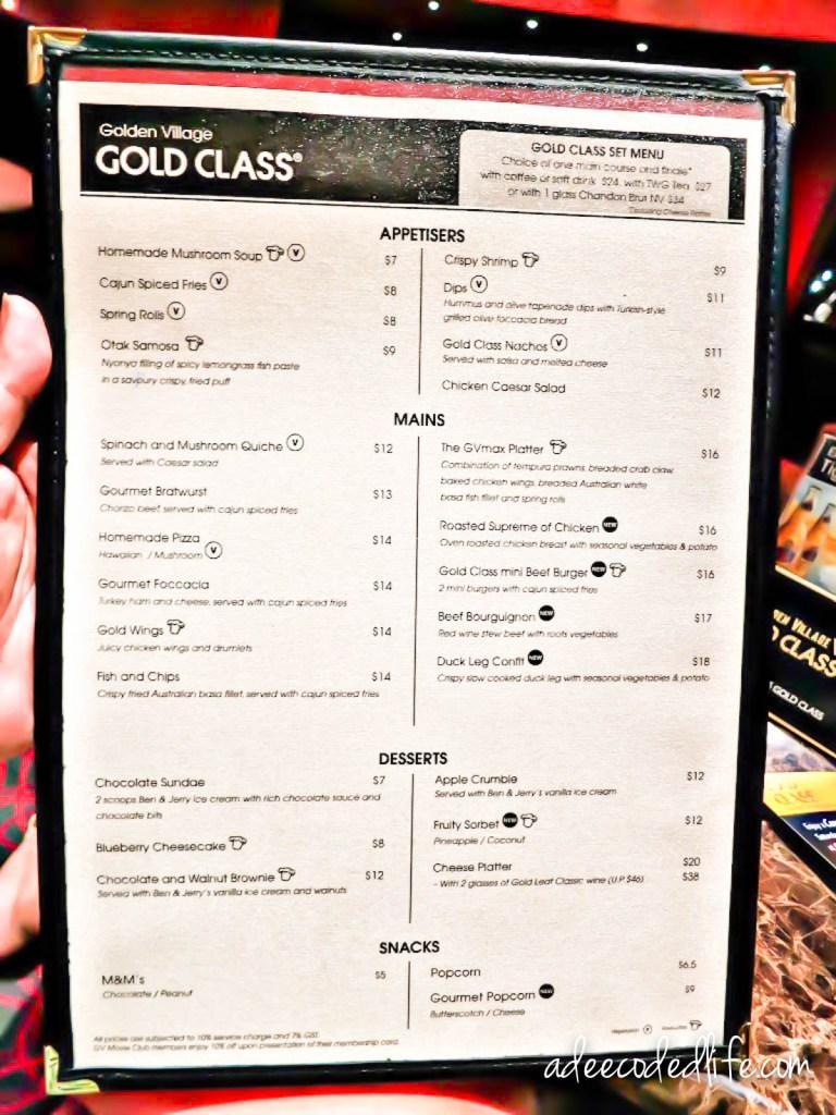 Gold class movie meal deals