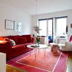 adelaparvu.com despre apartament 3 camere, Foto Janne Olander, Standshem, living canapea rosie (15)