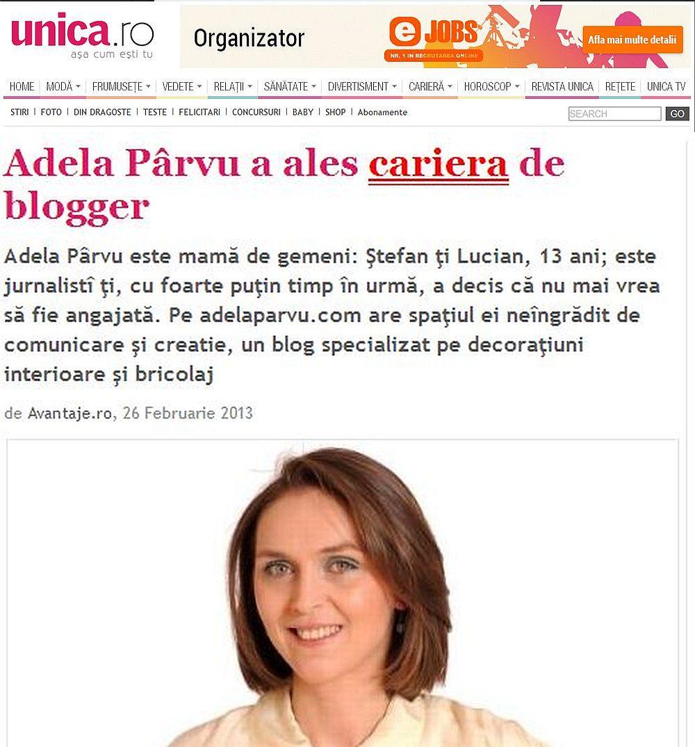 Adela Parvu in revista Unica