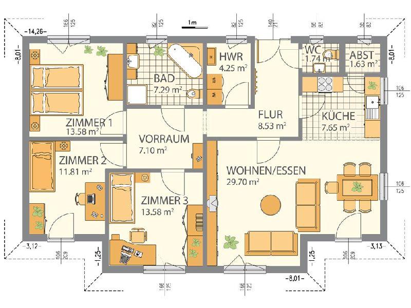 Model casa Top Star 115, Suprafata 124 mp, 4 camere, Proiect Hanlo