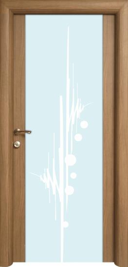 Usa interioara Art 3 cu geam decorat de la Prodecor, pret 1066 lei pentru foaia de usa, pret cu boasca, balamale si toc 1330,52 lei.