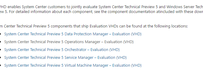 Using VHDs to Evaluate System Center 2016