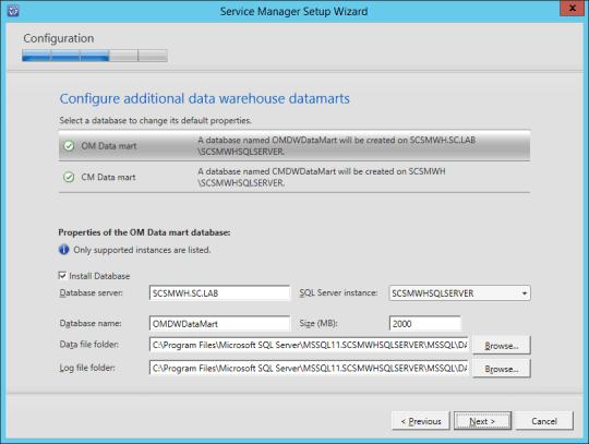 SCSM-WH Configure Data Warehouse Datamarts