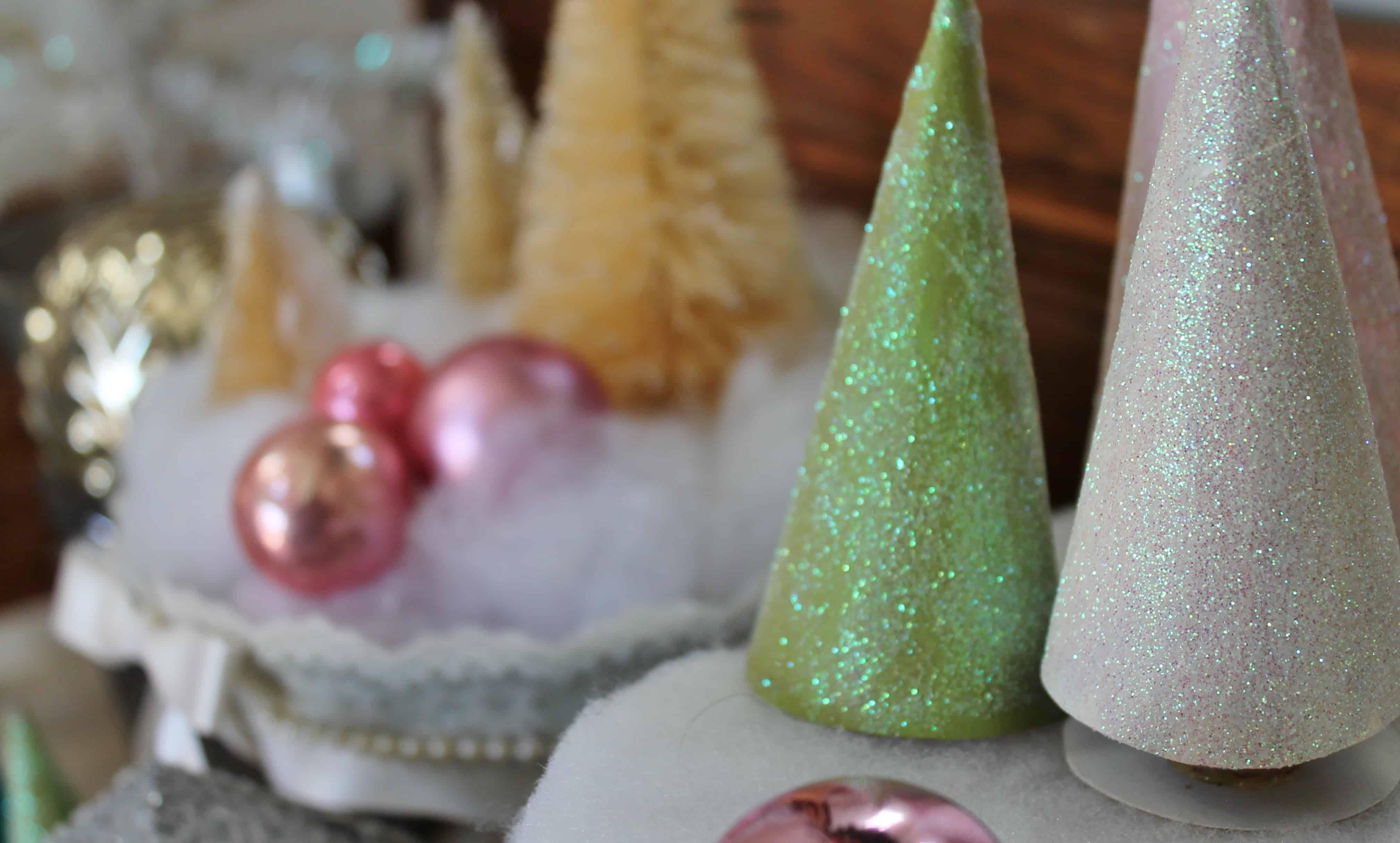 Glittery toilet paper tube christmas trees adirondack