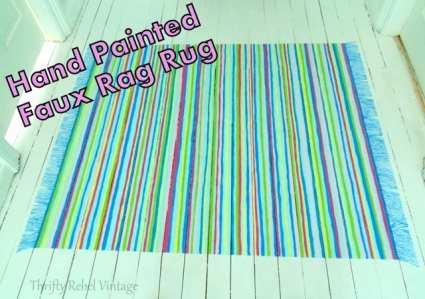 Thrifty Rebel Vintage Painted Rag Rug