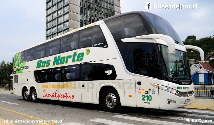 bus norte - gckv19 - 210 - cama ejecutivo - paradiso 1800 dd g7 - puerto montt - volvo b420r