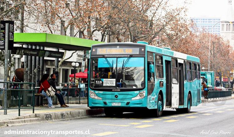 Recorrido 516 Transantiago, bus con puertas en 2 lados