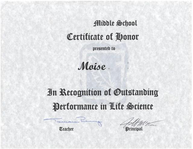 uploaded Science Certificate