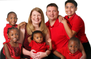 Blended family in red